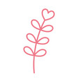 happy valentines day red branch leaves heart love vector image