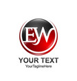 initial letter ew logo template colored red black vector image vector image