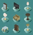 interior color isometric icons vector image vector image