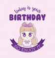 kawaii happy birthday design vector image vector image