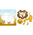 lion puzzle vector image vector image