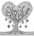 love tree coloring vector image vector image