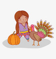 man indigenous with turkey animal and pumpkin vector image