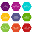 medieval crown icons set 9 vector image vector image
