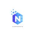 n blue hexagonal letter logo design with mosaic vector image