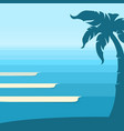 ocean waves and tropical island blue background vector image vector image