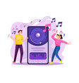 people streaming music in online platform vector image