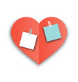 red heart paper shape with shadow with stickers vector image vector image