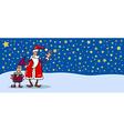 santa and christmas elf cartoon card vector image