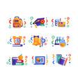 school supplies set education concept back vector image