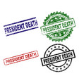 scratched textured president death seal stamps vector image vector image