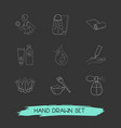 set of beauty icons line style symbols with hand vector image
