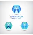 set of crystal abstract geometric polygon logos vector image