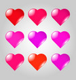 set of red and lilac hearts vector image vector image