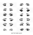 set of views of a female eye vector image vector image
