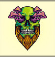 skull magic mushrooms vector image vector image