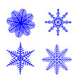 snowflake winter set of blue isolated four vector image