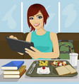 student girl using tablet in fast food restaurant vector image vector image