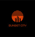 sunset city logo vector image