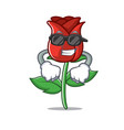 super cool red rose character cartoon vector image