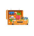 travel suitcase full things vector image vector image