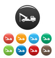 truck drill icons set color vector image vector image