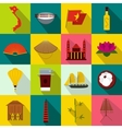 Vietnam icons set flat style vector image vector image