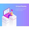 virtual reality advertising card cartoon vector image