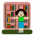 woman employee of library or bookstore concept of vector image