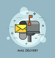 yellow envelope in opened mailbox express mail vector image