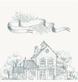 old farmhouse and garden border ribbon for text vector image