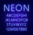 glowing blue neon character font vector image