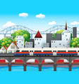a rail in city scene vector image vector image