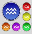 Aquarius icon sign Round symbol on bright vector image