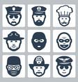avatarprofessionoccupation icons set police vector image