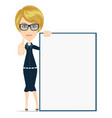 beautiful blond woman holding white poster front vector image vector image