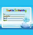 best in swimming award template with whale in vector image vector image