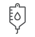 blood bag line icon hospital and medicine iv bag vector image vector image