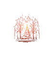 city winter street tree snow concept vector image
