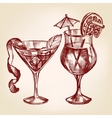 cocktail set hand drawn illustration vector image