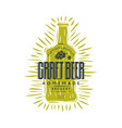craft beer bottle and typographic emblem vector image vector image