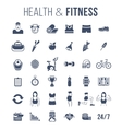 Fitness gym and healthy lifestyle flat silhouettes vector image vector image