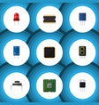 flat icon device set of recipient microprocessor vector image vector image