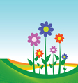 flower on blue background vector image vector image
