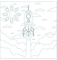 Flying Rocket with Illyuminotor and Flames from vector image vector image