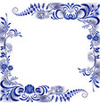 frame with corner floral blue patterns in the vector image