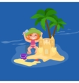 Fun at beach Happy kids plaing sand around water vector image vector image