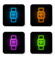 glowing neon smartwatch with wireless symbol icon vector image vector image