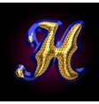 golden and blue letter h vector image vector image