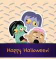 happy halloween poster with cute zombie heads vector image vector image